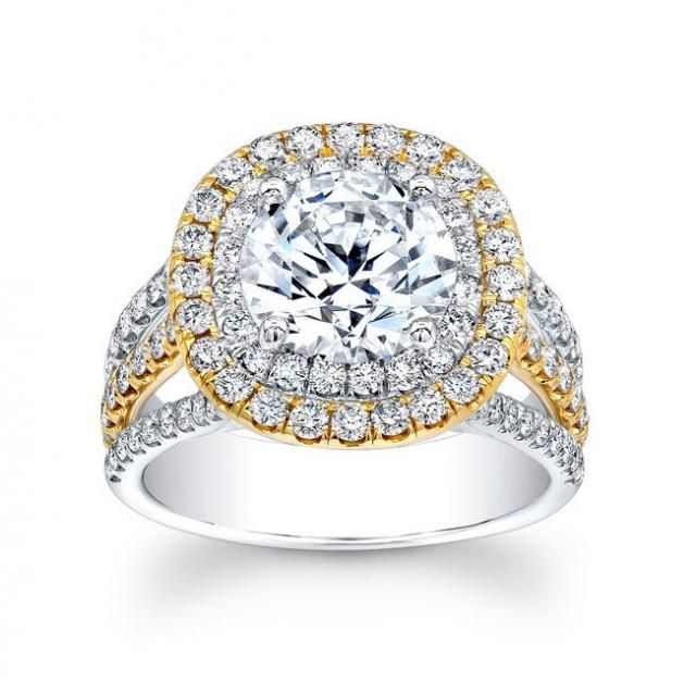 Ladies 18kt yellow and Platinum diamond engagement ring 1.25 ctw G-VS2 diamonds with 2ct Round White Sapphire center