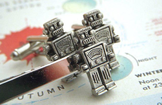 0d86432e0552 Robot Cufflinks & Robot Tie Bar Men&;s Cufflinks Set 3 Silver Plated