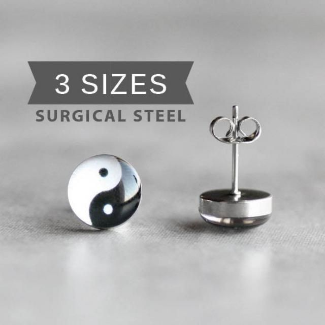Yin Yang Post Earrings Surgical Steel Stud Mens Tiny Earring Studs