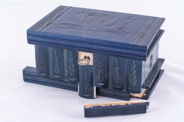 Hinged Trinket Wooden Jewelry Puzzle Box w/ Lock Key Blue Hungarian Case