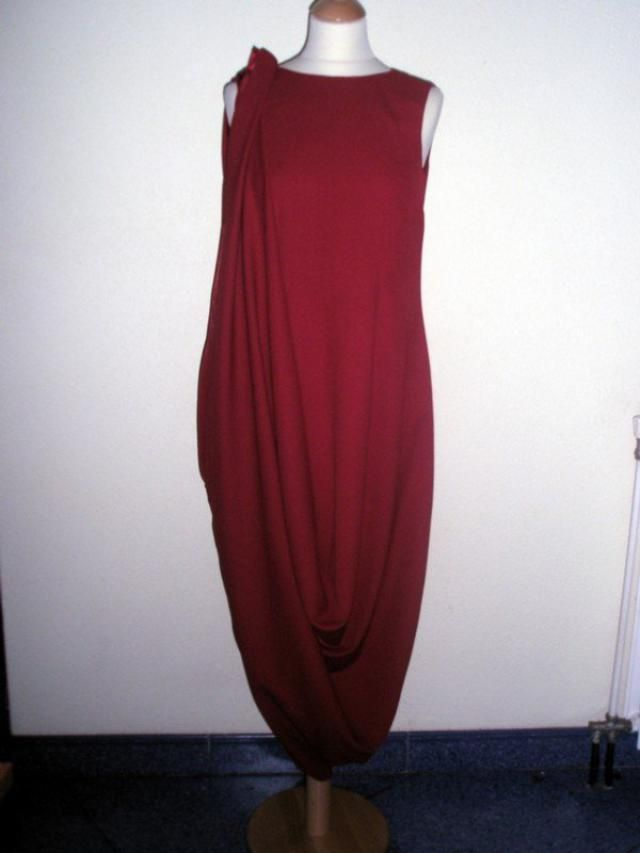 35ea8f1877a CUSTOM MADE Red Hitched Up Maxi Drape CREPE Dress