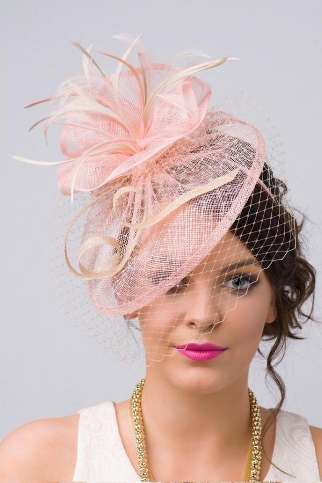 Pink Fascinator -  quot Noor quot  Light Pink   Ivory Fascinator Hat  Headband w  792c72ee77d