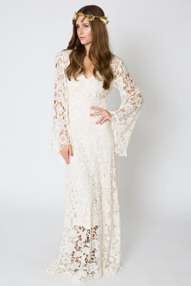 2fcdf4b75469 Vintage-Inspired Bohemian Wedding Gown. BELL SLEEVE LACE Crochet Ivory or  White Hippie Wedding