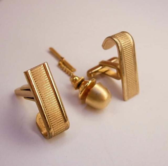 f04f08fd92ef Vintage Wrap Cuff links gold Escalator Modernist Cufflinks Bonus Tie Tack  Hickok Wedding Groom accessory Business