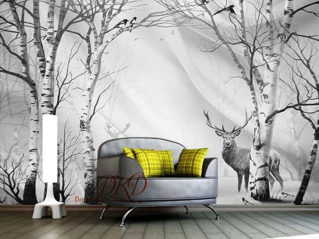 728e16e4328b Birch tree forest in winter Mural, Peel & Stick Wallpaper, Black and  White