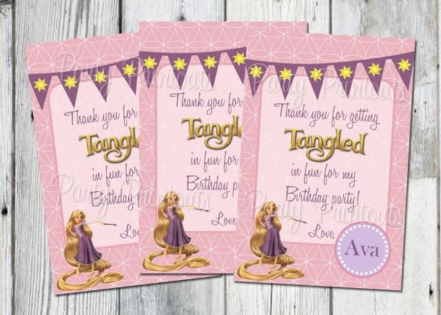 Tangled Favor Bag Tags Printable Rapunzel Birthday Party Thank You Cards For Gift Bags