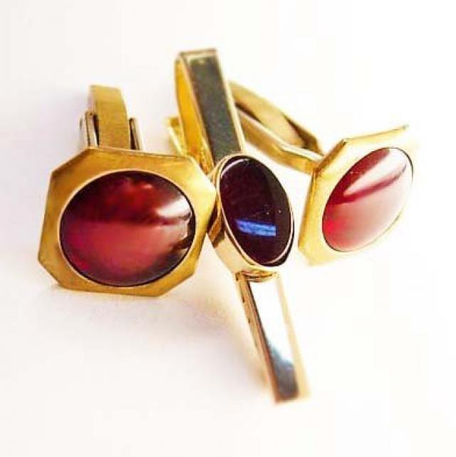 555deedab6d9 Vintage Blood Red Cufflinks Deco Bonus Blood Red Tie Clip Anson Wedding  Business Tie bar
