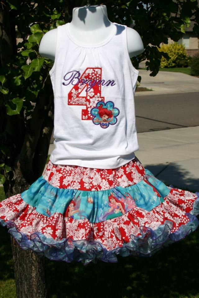 Aris Angels Girls Little Mermaid Ariel Birthday Outfit Monogrammed Personalized Shirt