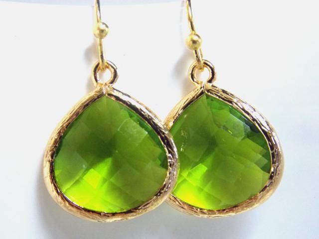 Gold Le Green Earrings Gl Peridot Bridesmaid Jewelry