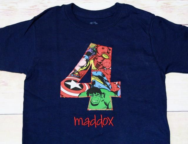 Superhero Birthday Shirt Captain America IronMan Spiderman Thor Hulk 1st 2nd 3rd 4th 5th 6th 7th