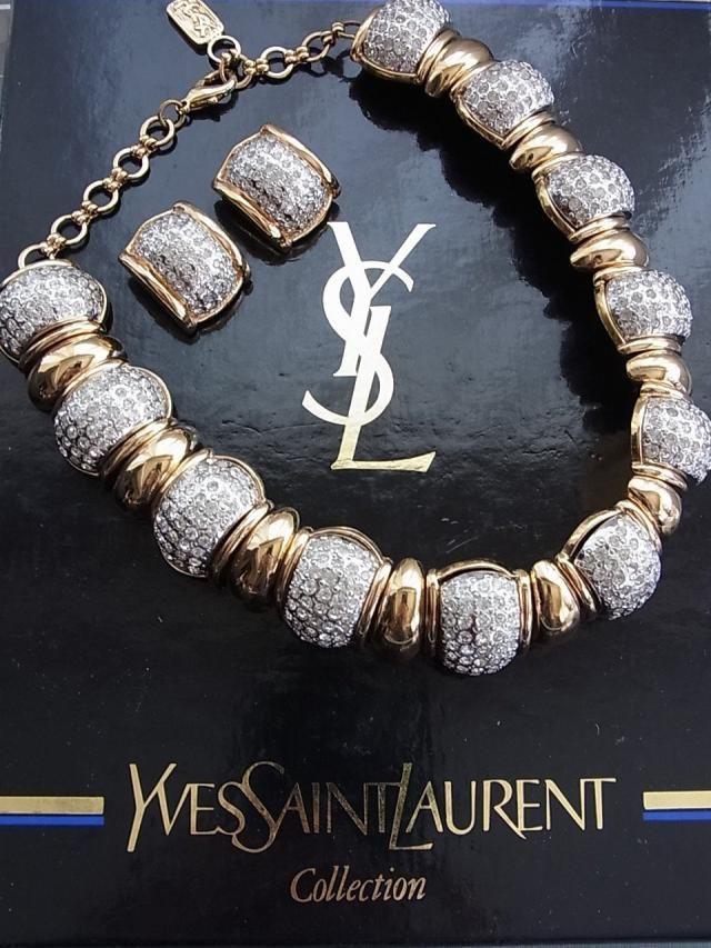 5cb506297b03d5 Yves Saint Laurent necklace earrings set gorgeous very rare box excellent ysl  vintage