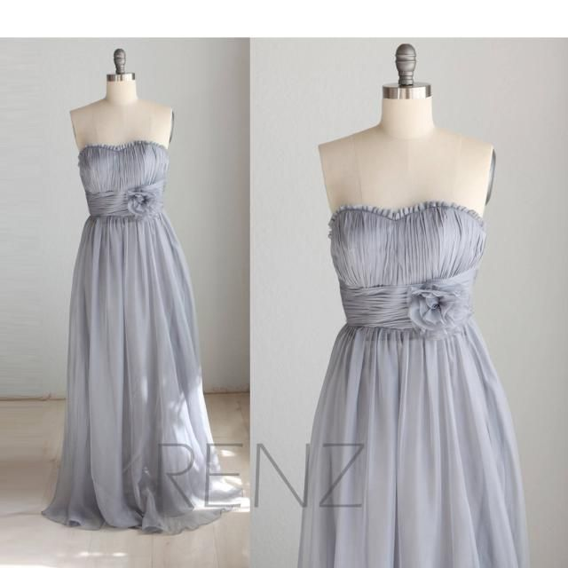 c7cb90c98dad Bridesmaid Dress Medium Gray Chiffon Dress,Wedding Dress,Strapless Rosette Maxi  Dress,Ruched