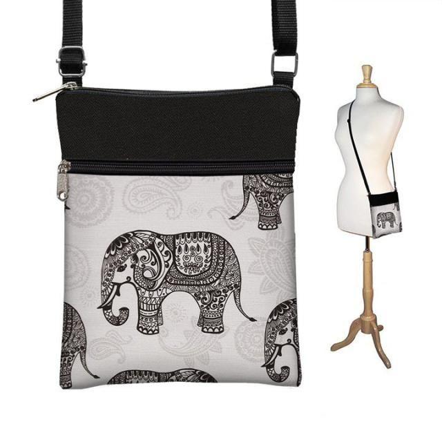 Sling Bag Shoulder Purse Elephant Cross Body Bag Small Travel Purse Zipper  Fits eReaders Paisley Gray cf3fa800f1899
