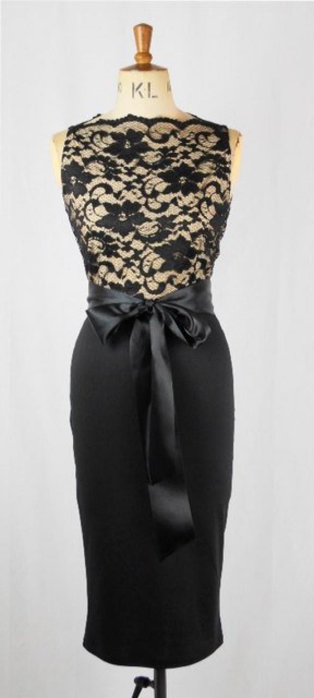 c57a5b383f Baylis   Knight Black Nude Lace SLEEVELESS Slash Boat Neck Princess Kate  Middleton Wiggle KNEE Dress