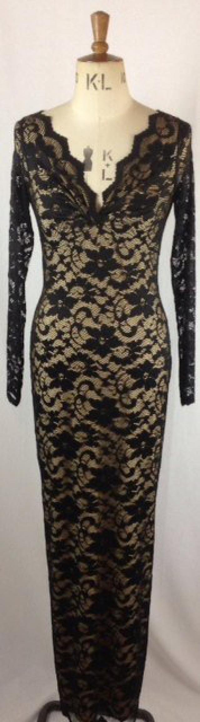 c696c6b972 Baylis   Knight Black Nude Maxi LACE Long Sleeve POLLY Twist Pencil Wiggle  Dress Burlesque Dita