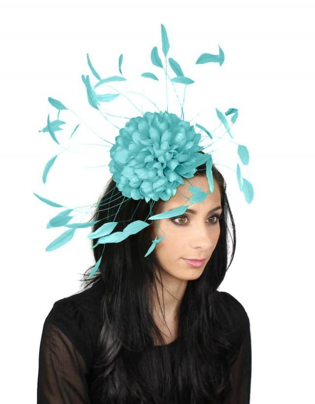 f01893ca552e3 Margeaux Turquoise Fascinator Hat for Weddings