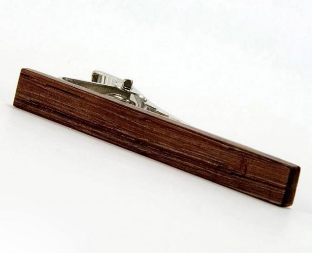 38fa97817d05 Mens Wooden Tie Clip - Wood Wine Barrel Tie Bar - Wood Tie Pin - Mens