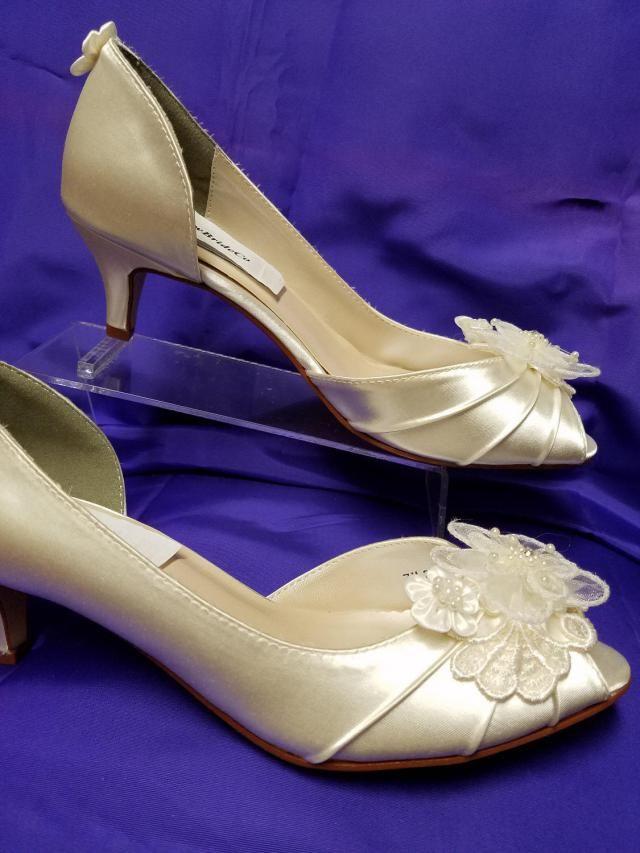 8c4d6ec439 Wedding Shoes short kitten heel Ivory or White or Off-White, appliqués  Embellished lace