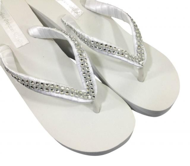 3cb5090de1bc Wedding Flip Flops - Bridal Wedge Flip Flops - Bridal Sandals - Platform Flip  Flops -