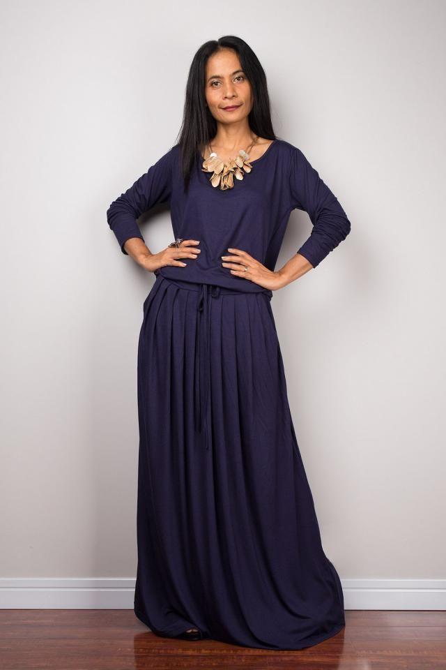 c6080462b857 Women&;s blue maxi dress with pockets, long sleeve handmade Navy Blue  floor
