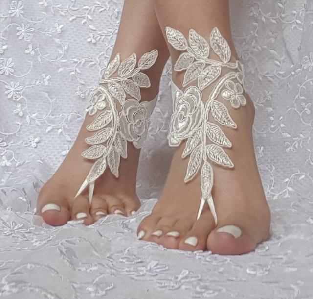 26b718da6df7 7 color Bridal barefoot sandals beach wedding barefoot sandal footwear  footgear lace barefoot shoes