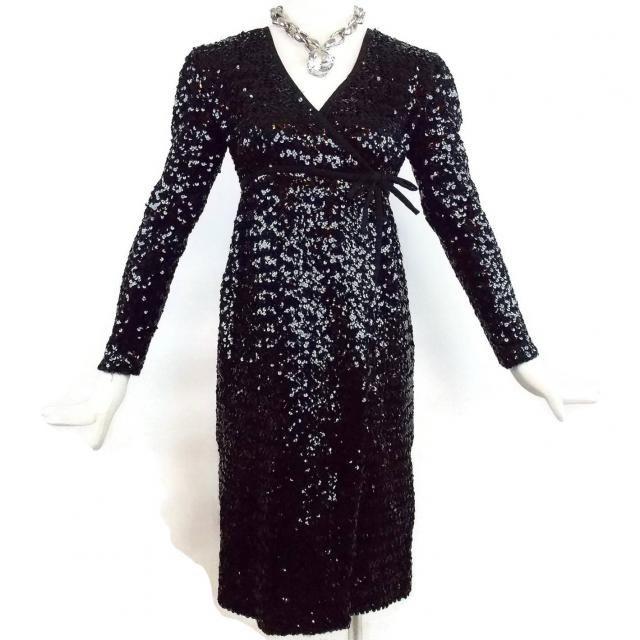 dc0639eba1c Vintage VICTOR COSTA ROMANTICA for Imagnin Baby Doll Black Sequins Dress  Size 6