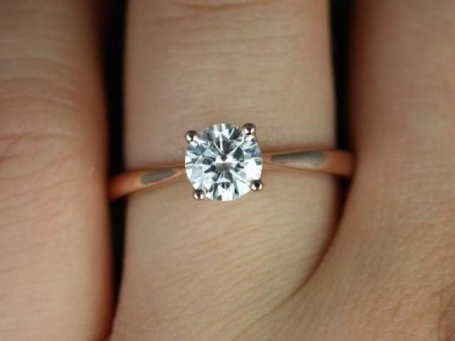 40b8a6b84310c Skinny Flora 8mm Twyla 14kt Rose Gold Round FB Moissanite and