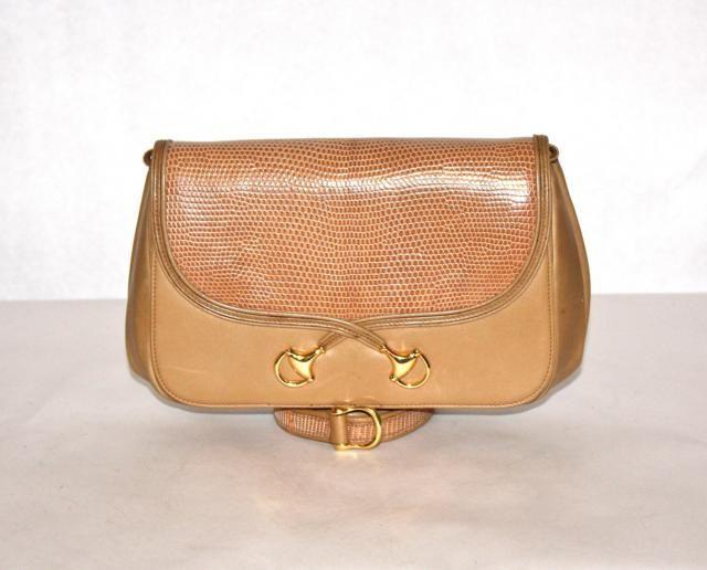 6e3a8d494f0dd5 GUCCI Vintage Handbag Clutch Convertible Tan Lizard Leather Horsebit -  AUTHENTIC -
