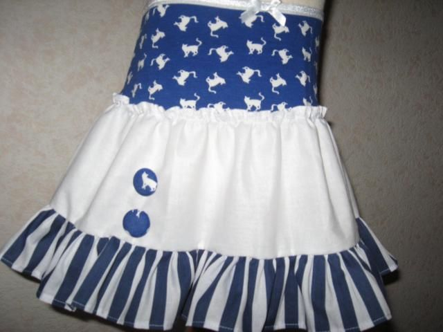 NEW Blue White cats Striped Frilly Skirt Party Retro Gift Festival All sizes