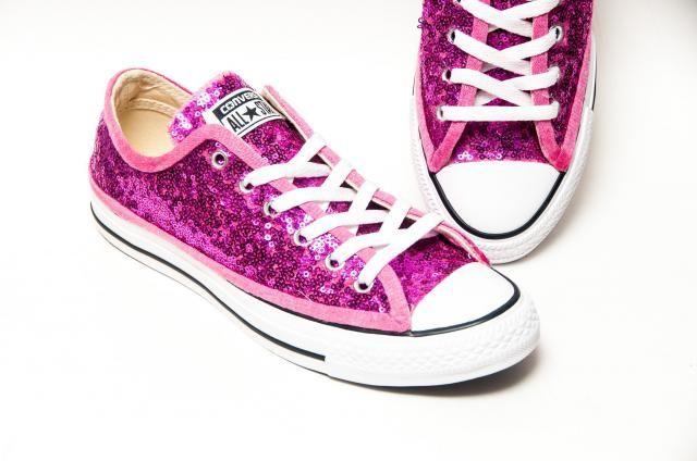 e86b3ea55ebc1b Tiny Sequin - Starlight Hot Fuchsia Pink Canvas Custom Converse® Low Top  Sneakers Shoes