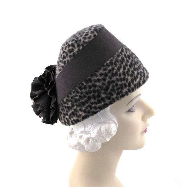 Womens Hats Brown Animal Print Fur Felt Velour Ribbon Flower Church  Handmade Hat Cloche Derby Ascot abb6936d5820