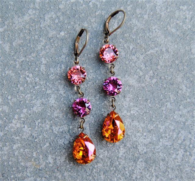 32b5b50dc Watermelon Pink Fuchsia Pink Earrings Orange Pink Swarovski Crystal Orange  Pink Drop Earrings Petite Fiesta Dangles