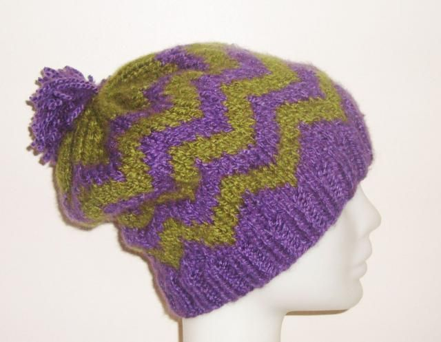 054c1ceda9b Hand knit womens winter slouchy beanie hat in purple green chevron knit hat