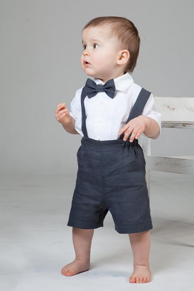 e4907e1becf Baby boy linen suit Ring bearer outfit First birthday suspenders outfit  Baptism shorts with suspenders Rustic