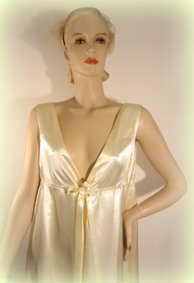 2765a6d5111 vintage satin gown  empire waist wedding gown  satin ivory wedding dress