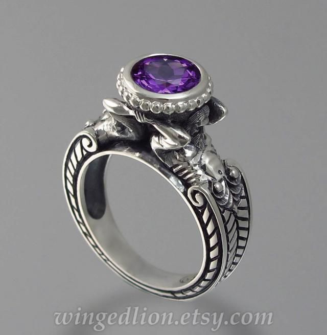 Amethyst and Moonstone Ring Spinner Spinning Band Ring Heart Mens Ring 925 Sterling Silver Ring Statement-Engagement Ring