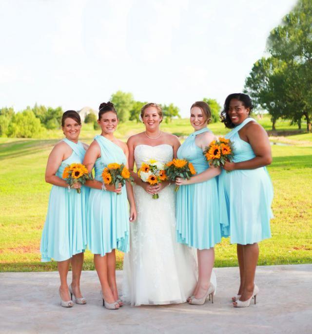 4d42677325f TDY Sky Blue Short Asymmetrical Bridesmaid Dress Convertible Dress Infinity  Dress Multiway Dress Twist Wrap Dress
