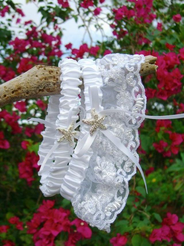 Beach Wedding White Lace Starfish Garter Set Silver Crystal Bridal