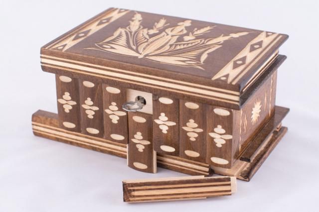 Hungarian Vintage Puzzle Jewelry Box Organizer Holder Watch Case w/ Secret Lock Brown