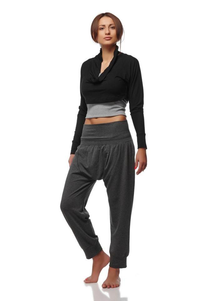 6e636fb91f Dropped Crotch Yoga Cotton Pants -Gray Harem Yoga Pants - Loose Gray Cotton  Pants