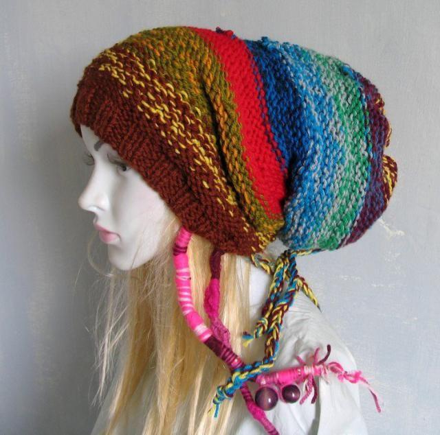 9b417cab Knitted Dreadlock Hat Chunky Beanie Large Beanie Oversized Beanie Hat Large  Slouchy Dreadlock hat POM POM