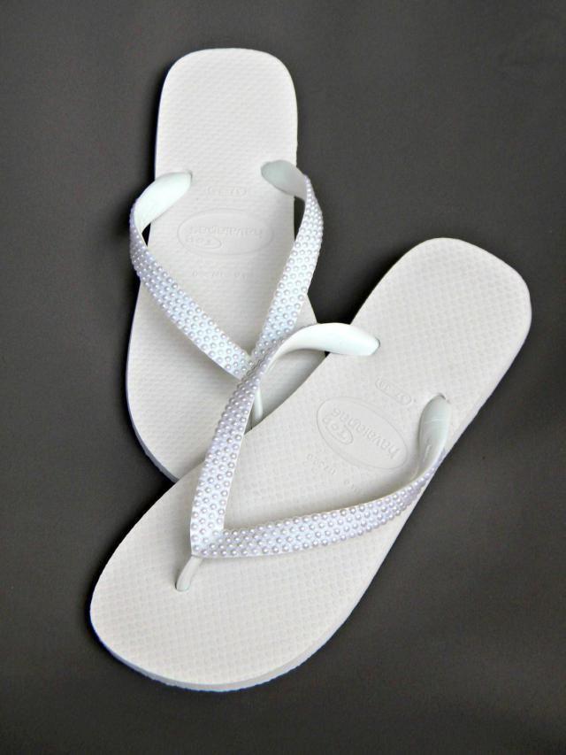 01ca7b01cf298a Custom Havaianas flat Flip Flops w  Pearls or Wedge heel w  Swarovski  Crystal sandal.  beach bridal shoe ...