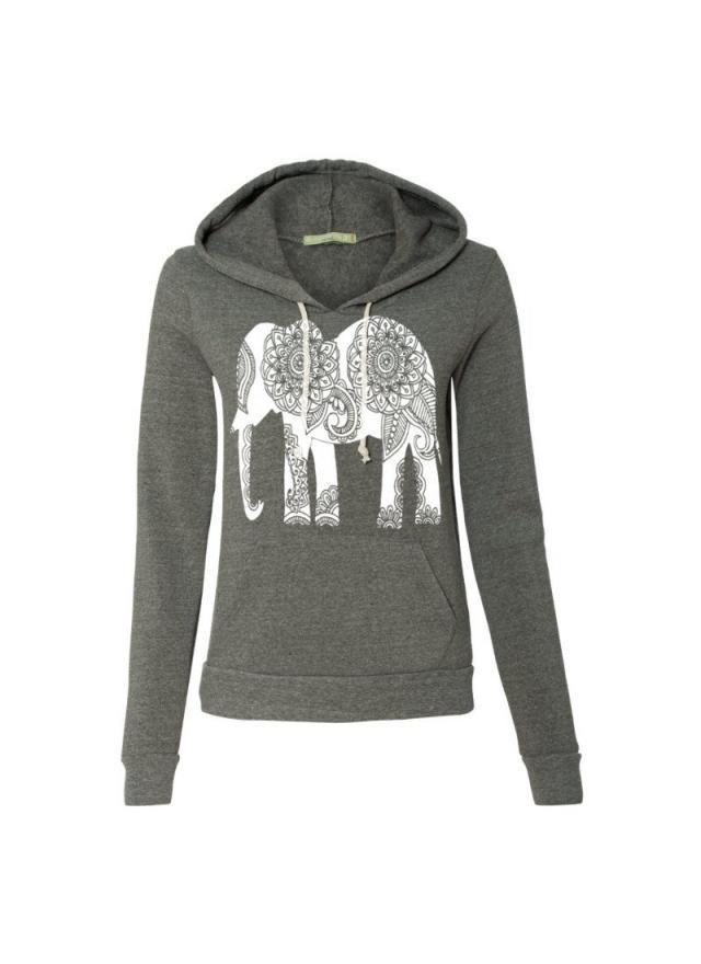 6a85218aa Womens Paisley ELEPHANT Christmas Gift Hoodie Sweatshirt Hooded Alternative  Apparel Gray