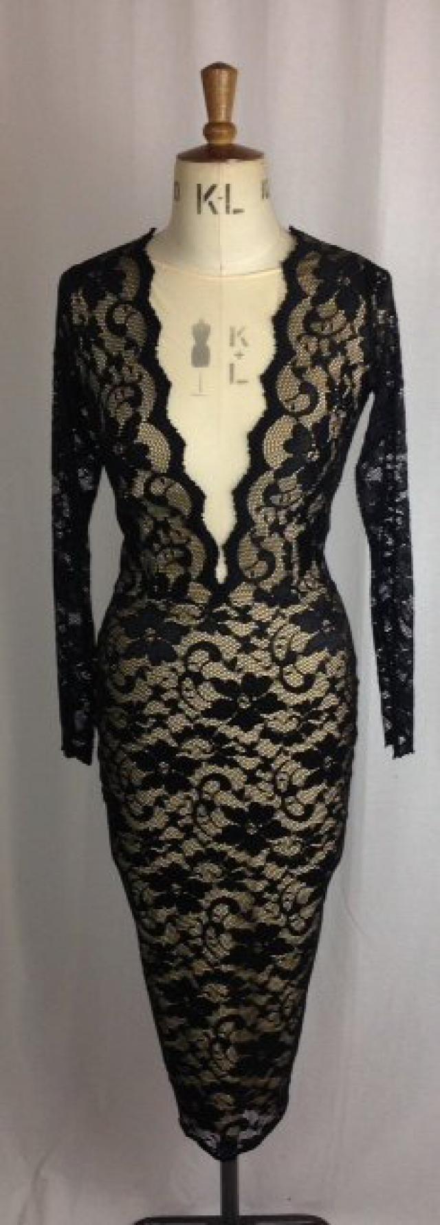 17289e1162 Baylis   Knight Black Nude Lace PLUNGE Long Sleeve Low Cut Wiggle FISHTAIL  FRILL Knee Dress