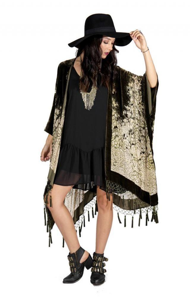 07621381d Olive Floral Velvet Burnout Gypsy Beaded Tassel Fringe Kimono Duster