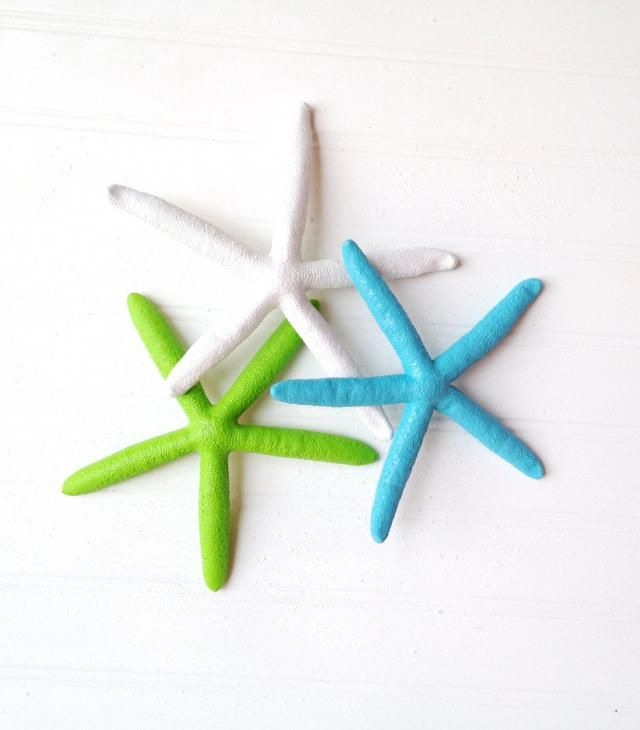 Painted Starfish Set Of 3 6quot Wall Hanging Mobil Nursery Island Tropical Beach