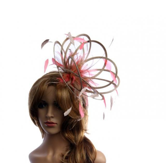 Taupe Nude Fascinator hat //choose any colour feathers//satin
