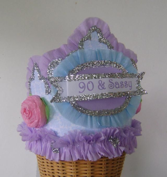 90th Birthday Party Hat Crown Adult Lavander