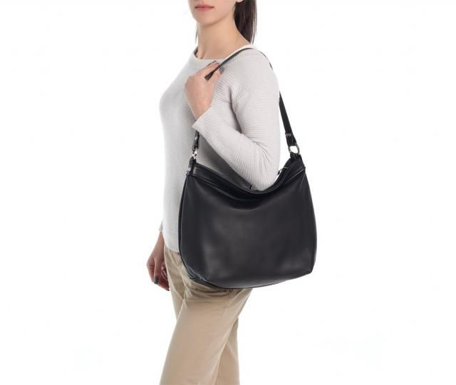 b2afcd690d9 Black leather hobo bag - Cross body hobo bag - Women laptop purse - LARGE  HELEN