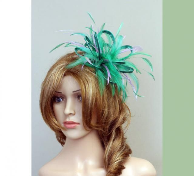 Emerald Green and Lilac Feather Fascinator Hat - wedding fcf2fb937872